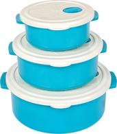 Набор контейнеров Контейнер Bager BG-421 B White Blue круглый 750 мл.1500 мл. 2750мл (BG-421 B)