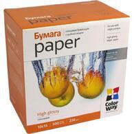 Бумага ColorWay 10x15 (PG2305004R) 230 г/м2, 500 листов, глянец, водостойкая, картонная упаковка